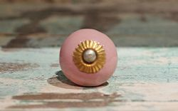 Round Shape Porcelain Door Knobs - Pink